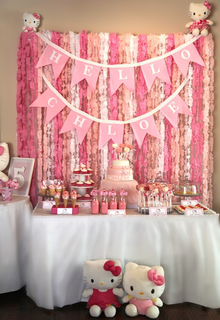 Diy hello kitty birthday party the haute cookie for Party backdrop ideas