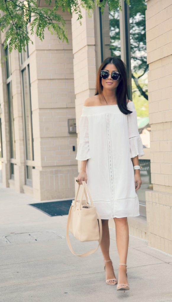 dd67c53beececd mossimo off the shoulder dress | gentle monster sunglasses | zara shoes  (old) similar here chanel cerf tote | ysl arty ring | hermes kelly double  tour ...