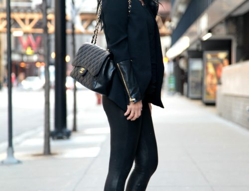 black leather and gold deets